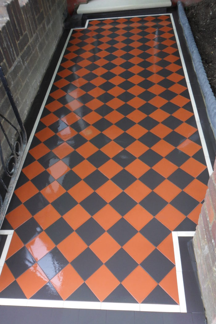 Black Red Victorian Checkerboard Pathway With Strip Border Tiles